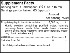 Supreme Fulvic & Humic Complex supplement facts panel